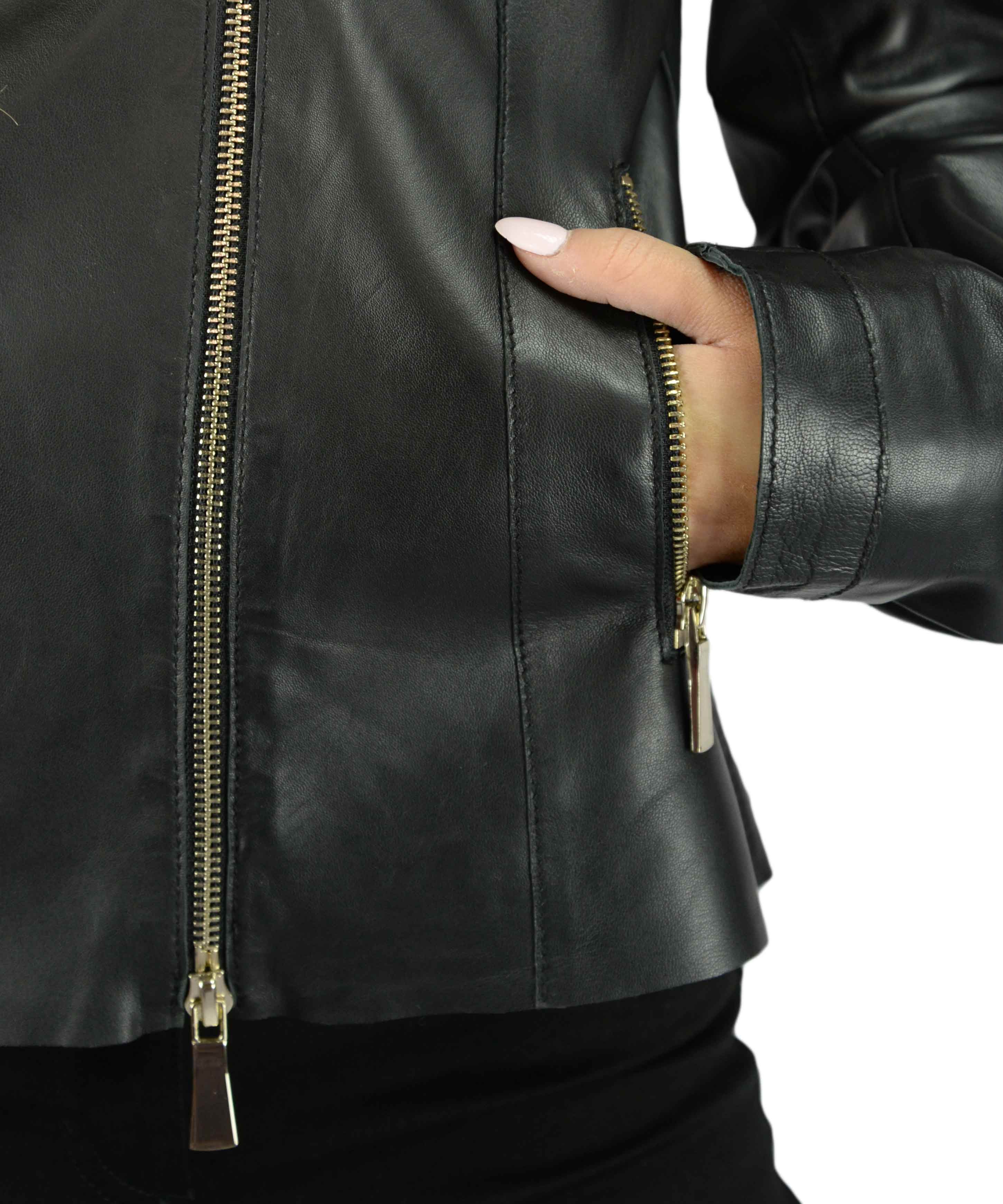 timeless design 41126 636db Giubbotto in pelle nero donna iBlues